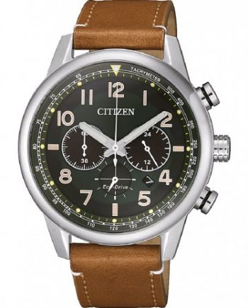 citizen-verde-eco-drive-chronograph-com-pulseira-pele-castanha